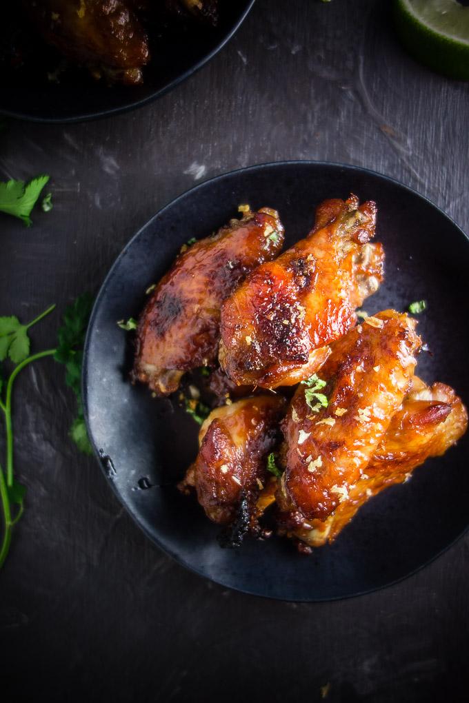 Plate of vietnamese chicken wings