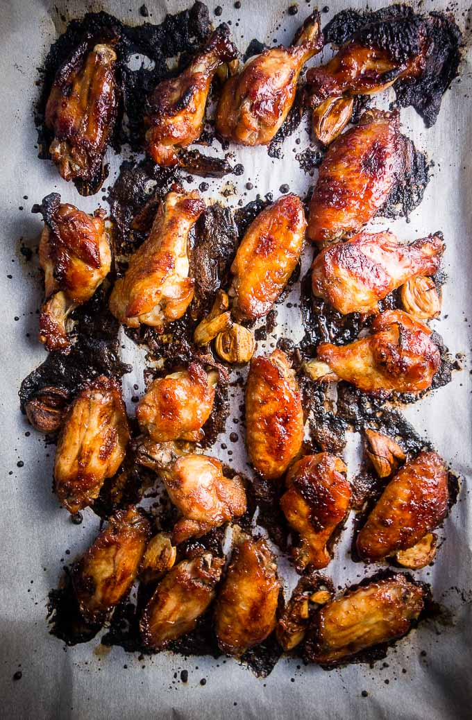 sticky chicken wings right out of oven on baking sheet