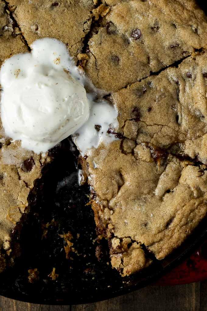 skillet cookie with vanilla ice cream
