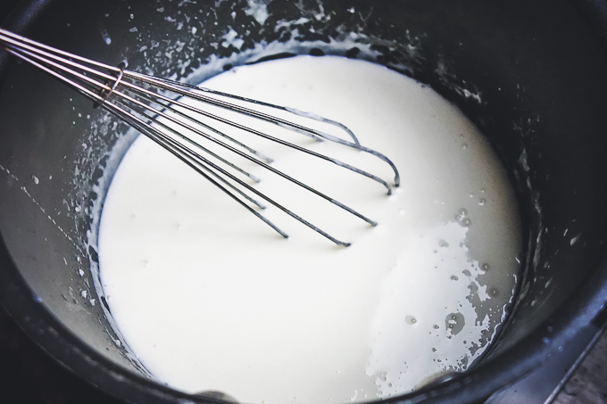 milk added to make bechamel sauce