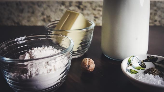 butter, milk, flour, nutmeg and seasoning for easy bechamel sauce