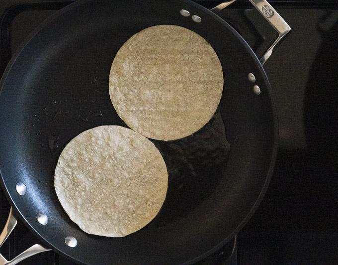 2 tortillas in a skillet