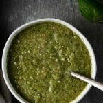 bowl of green sauce