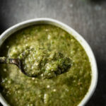 spoon of green salsa