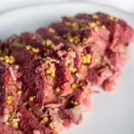 close up of sliced instant pot corned beef