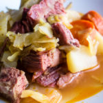 close up of corned beef and cabbage made in the instant pot