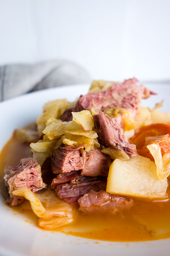 close up of corned beef stew in a bowl