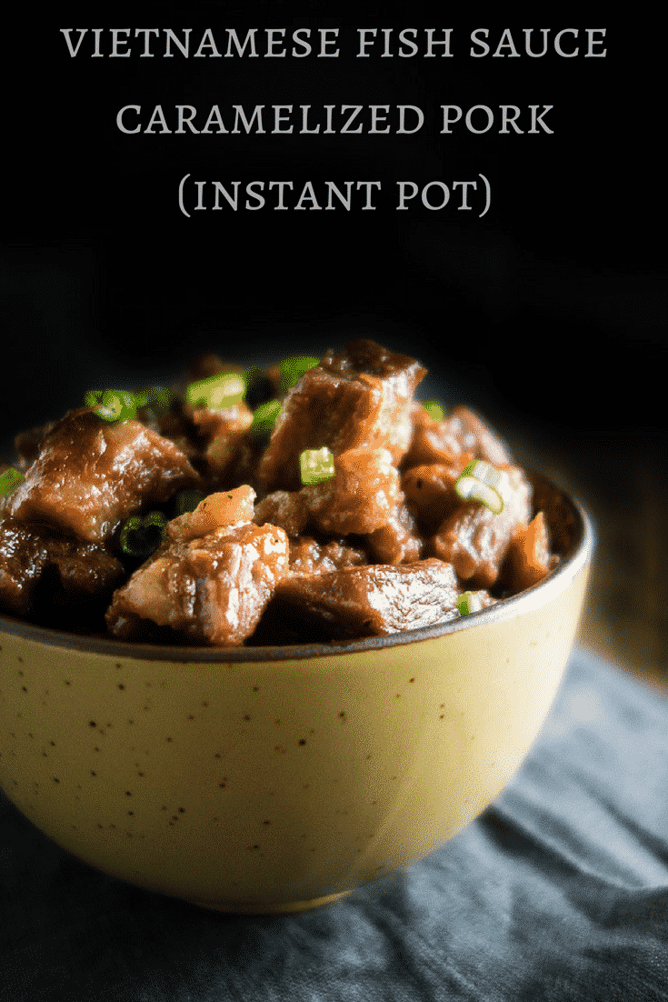 This super tender, fall apart Vietnamese Instant Pot Fish Sauce Caramelized Pork takes less than a hour to make in the Instant Pot for delicious melt-in-your mouth pieces of pork!vietnamese pork | fish sauce braised pork | sweet vietnamese pork | braised vietnamese pork | fish sauce recipes | easy vietnamese pork | instant pot recipe | instant pot pork | caramel pork | vietnamese caramel pork | caramelized fish sauce pork | caramelized pork stir fry