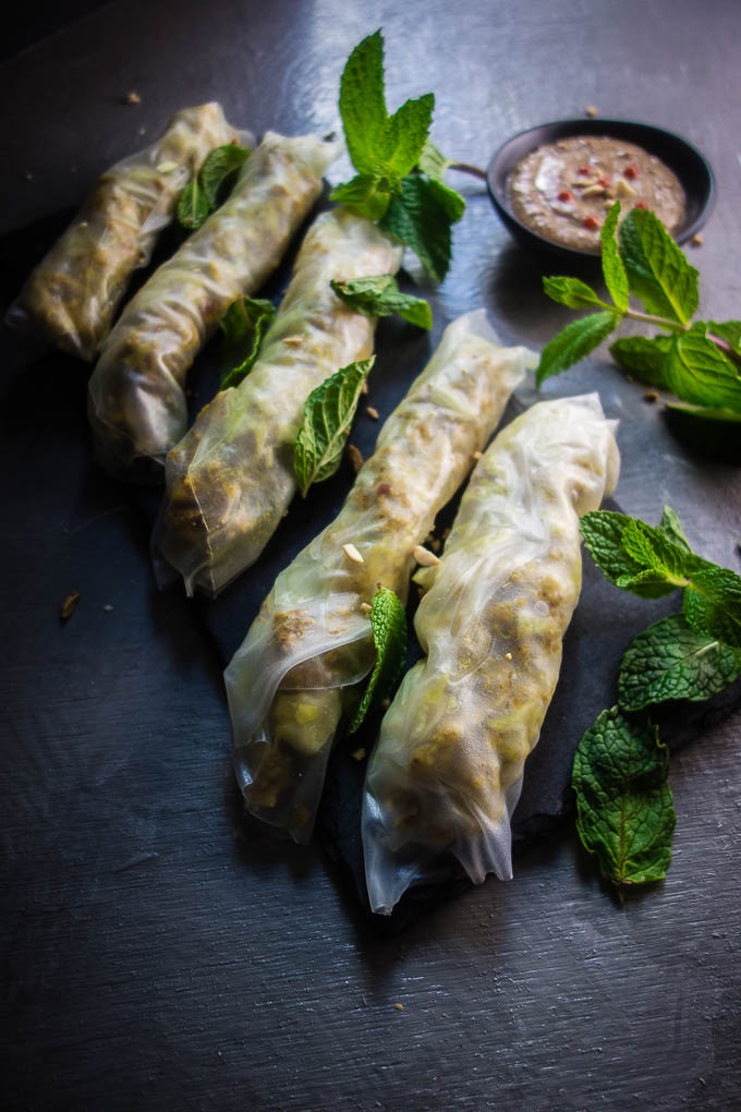 lemongrass chicken spring rolls garnished with mint and peanuts