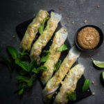 moody photography, lemongrass chicken spring rolls with peanut sauce