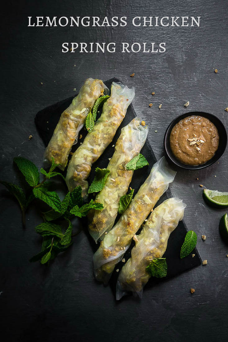 These lemongrass chicken spring rolls are super easy to make, packed full of amazing umami flavor and wait for it....healthy (mostly).fresh vietnamese spring rolls | easy lemongrass chicken | rice paper rolls | fresh summer rolls | summer rolls with chicken | chicken recipes | vietnamese recipes | banh mi spring rolls | how to make vietnamese spring rolls | healthy spring rolls