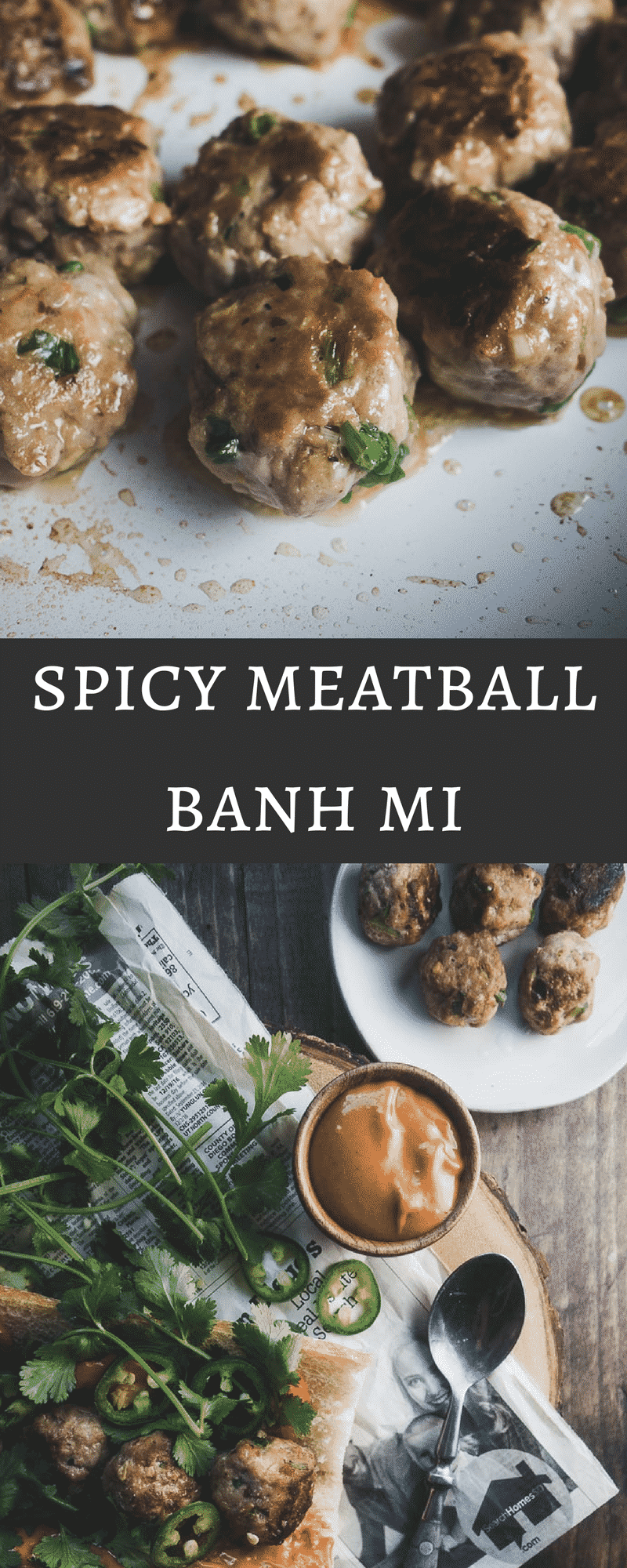 This spicy meatball banh mi takes less than 20 minutes to make and is served on a fresh chewy french baguette with sriracha hoisin mayonnaise...I love this sandwich! vietnamese pork meatballs | banh mi | low carb banh mi meatballs | paleo meatballs | meatball banh mi | spicy hoisin mayonnaise | sriracha mayonnaise | vietnamese meatballs | vietnamese sandwich | banh mi meatballs | easy banh mi recipe