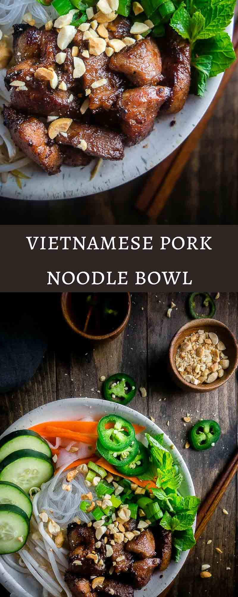 Tender pieces of marinated pork, stir fried until crisp on a bed of rice noodles, bean sprouts, and fresh herbs and served with Vietnamese dipping sauce (nuoc cham), this Vietnamese Pork Noodle Bowl is delicious and super easy to make. bun thit nuong | easy pork noodle bowl | healthy pork noodle bowl | vietnamese pork | vermicelli bowl | vietnamese pork vermicelli | caramelized pork noodle bowl | lemongrass pork noodle bowl | quick vietnamese noodle bowls