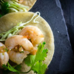 close up of vietnamese shrimp street tacos
