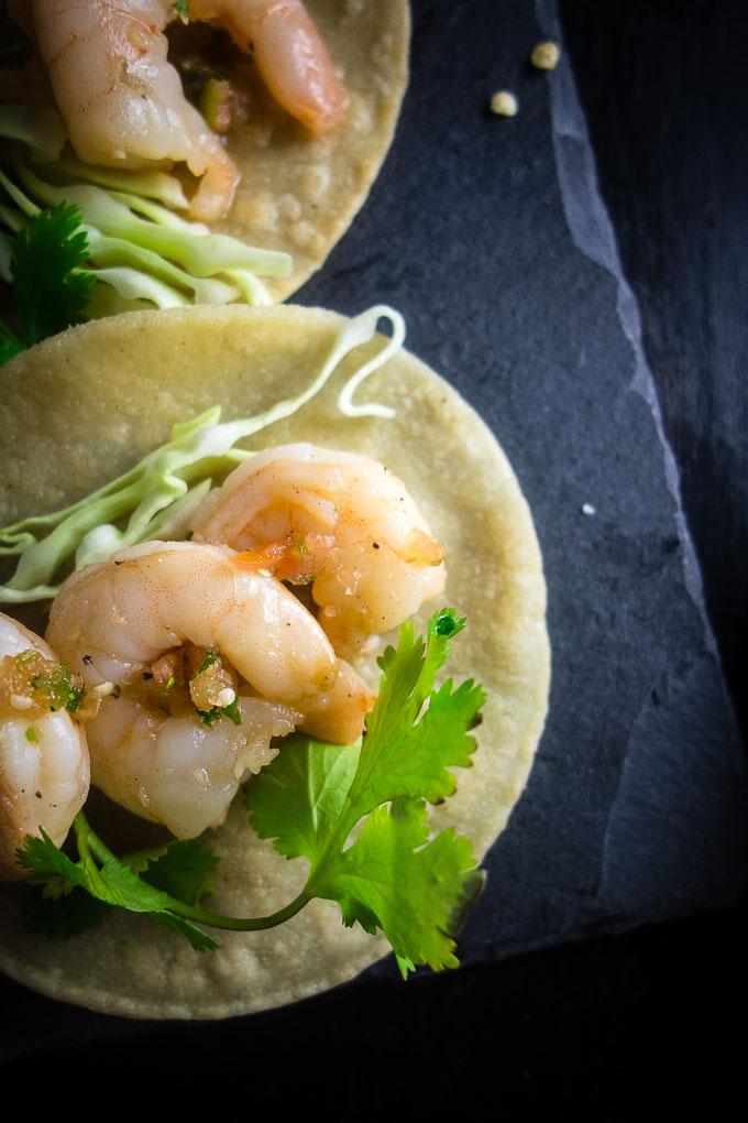 close up of vietnamese shrimp street tacos