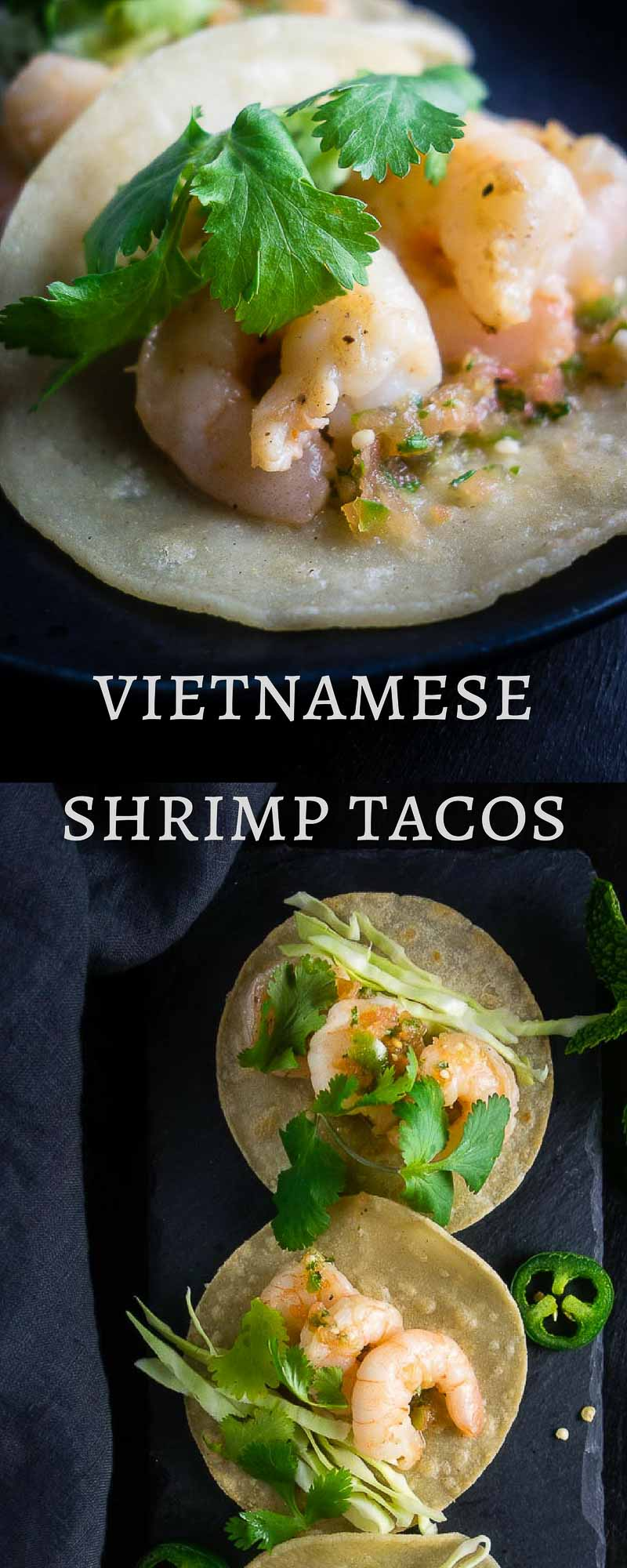 These Vietnamese Shrimp Street Tacos are packed full of light and fresh umami flavors, then served with fried tortillas and the BEST fresh homemade Vietnamese salsa!shrimp banh mi street tacos | vietnamese banh mi tacos | vietnamese inspired tacos | vietnamese mexican fusion | banh mi shrimp tacos | homemade salsa | fish sauce recipes | shrimp recipes | taco recipes | street tacos | spicy salsa | fresh salsa | tomatillo salsa | vietnamese recipes