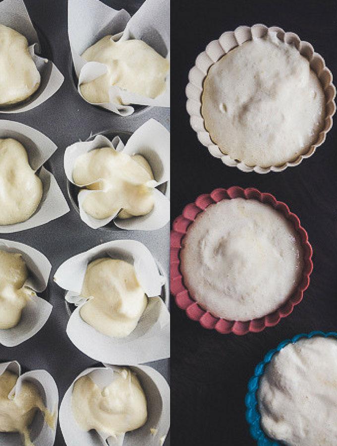 vietnamese sponge cake batter in muffin tin and tart pans