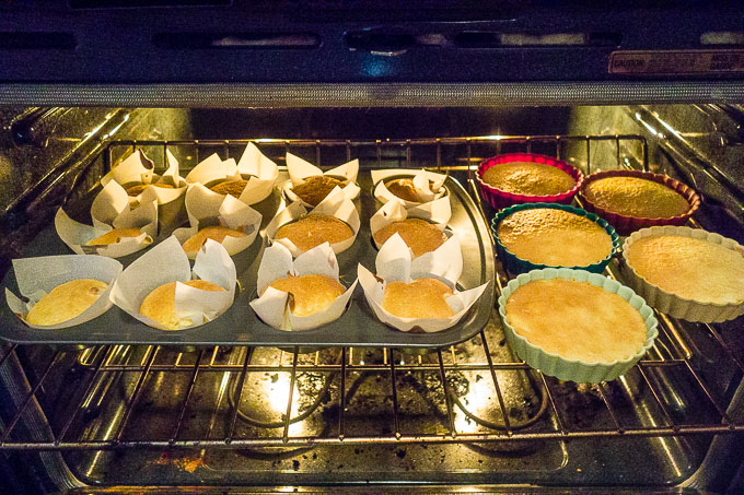 vietnamese sponge cakes cooling in the oven