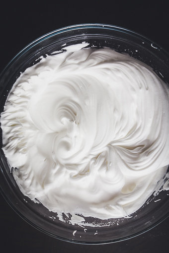 whipped egg whites to make almond meringue