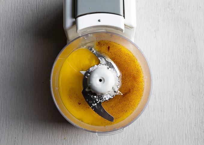 egg yolk and seasonings in a blender