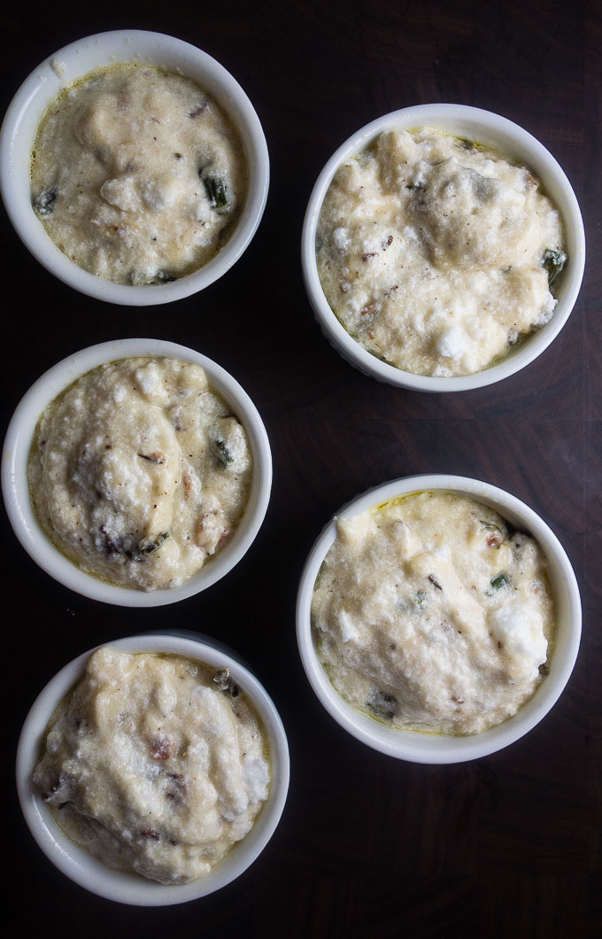 mixture in souffle dishes
