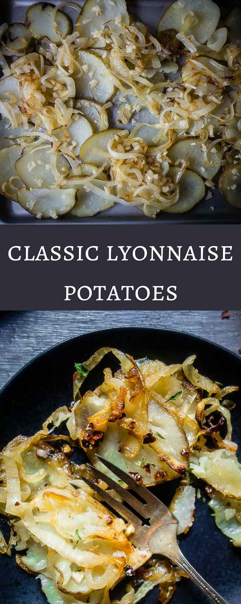 These classic Lyonnaise Potatoes are smothered in duck fat then baked until crispy, mixed with caramelized onions and garlic, then coated in a mixture of crushed chili and fresh lemon juice.baked lyonnaise potatoes | classic french potatoes | potatoes lyonnaise | duck fat potatoes | easy roast potatoes | chili lemon potatoes | spicy potatoes | crispy potatoes | potatoes and onion | baked lyonnaise potatoes
