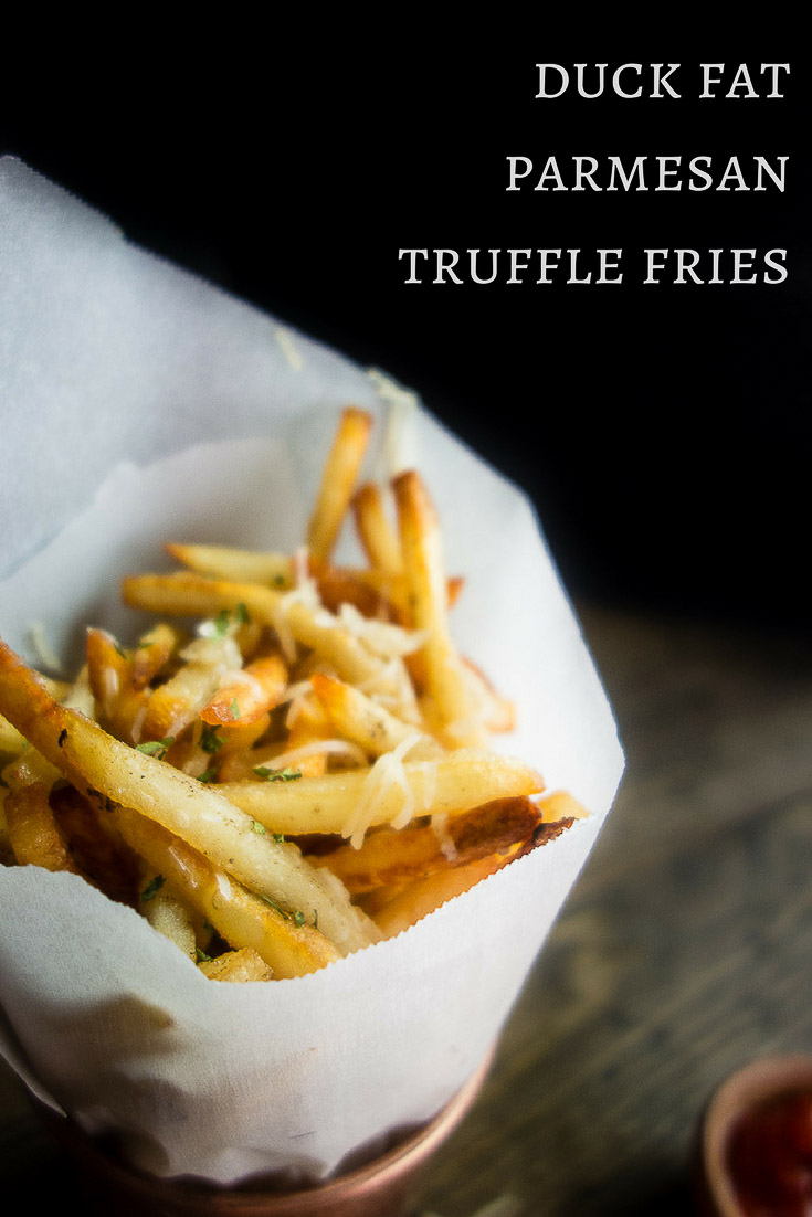 These duck fat Parmesan truffle fries may be a mouth full, but they are super simple to make and served with the most AMAZING truffle mayonnaise dipping sauce. parmesan truffle fries | french recipes | french fries | duck fat fries | duck fat parmesan fries | shoestring fries | truffle mayo | truffle mayonnaise sauce | truffle fries with truffle mayo | garlic truffle mayo | homemade truffle fries | easy truffle fries | oven baked parmesan truffle fries