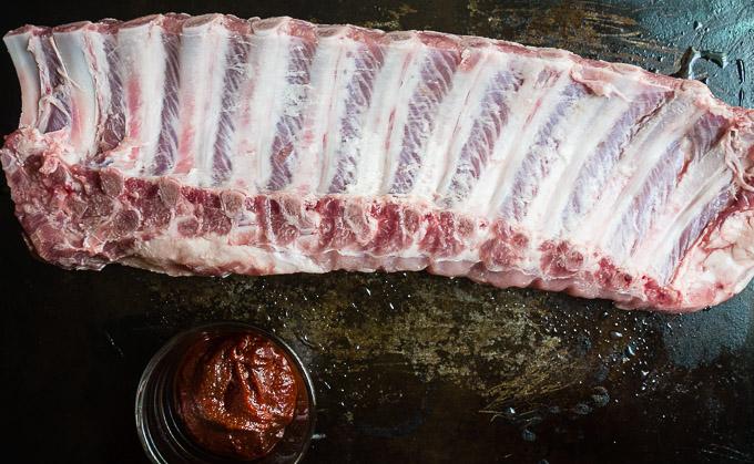 raw ribs and gochujang