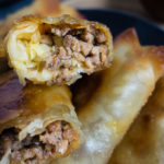 close up of egg roll filling