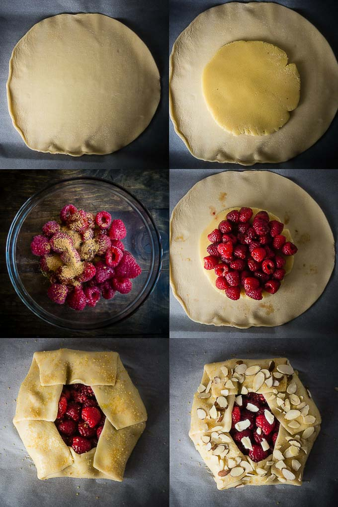 step by step photos to make almond raspberry galette