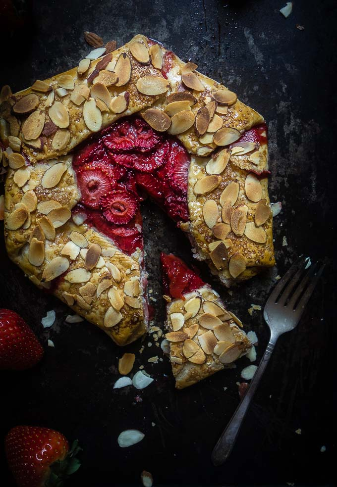 strawberry almond galette pie piece