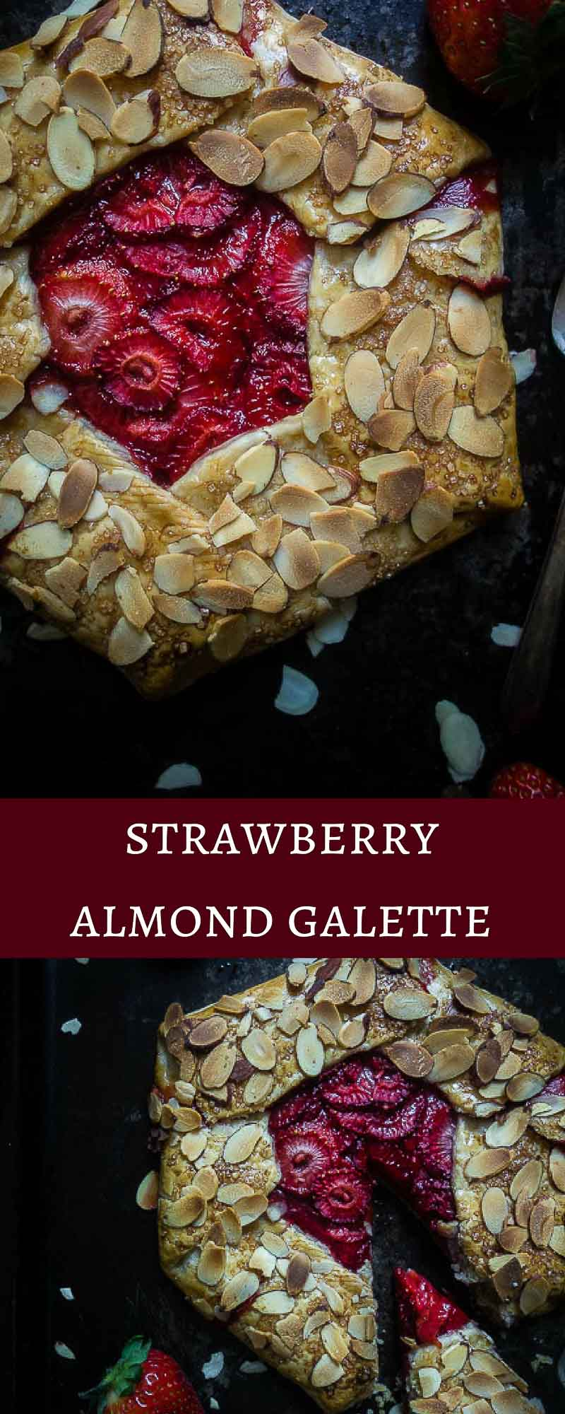 This Strawberry Almond Galette is super easy, taking only 5 minutes to put together and made with fresh strawberries & almonds - sure to be a crowd pleaser! I absolutely love this dessert!rustic galette | strawberry desserts | fresh strawberry galette | simple desserts | rustic french pie | french desserts | strawberry pie | honey strawberry galette | almond galette | healthy strawberry galette | strawberry tart | easy homemade pie