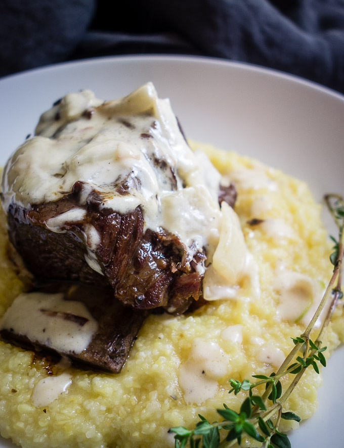 close up of white wine braised short ribs with cream sauce on polenta with herbs