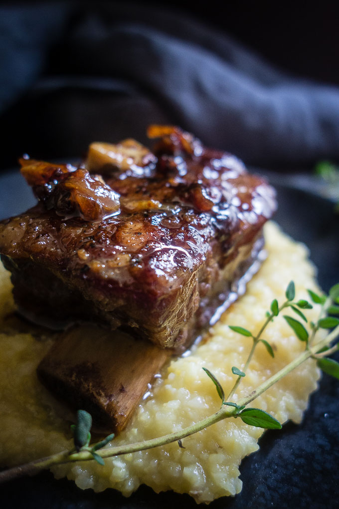 close up of white wine braised short ribs