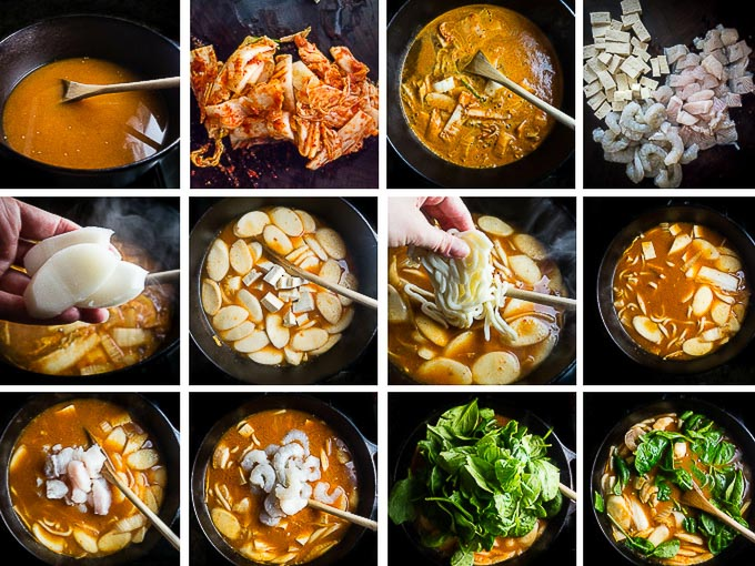 step by step instructions to make spicy korean seafood stew with noodles and rice cakes