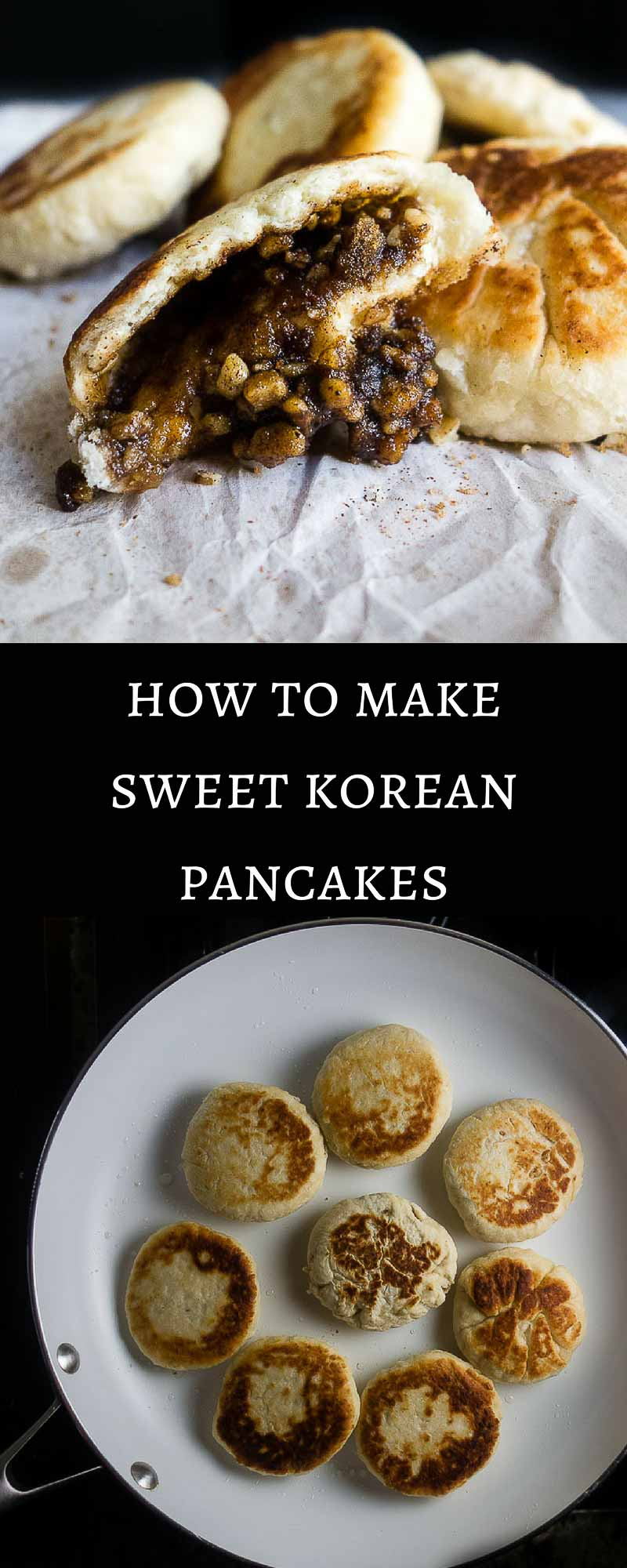 These Sweet Korean Pancakes (Hotteok) are a popular Korean street food made with a super simple yeast dough and traditionally filled with an amazing melt in your mouth mixture of brown sugar, cinnamon and walnuts.korean sweet pancakes | how to make korean pancakes | korean street food | hotteok | filled sweet korena pancakes | easy korean dessert | sweet pancakes | korean sweet dessert pancakes | classic korean dishes | traditional korean recipes