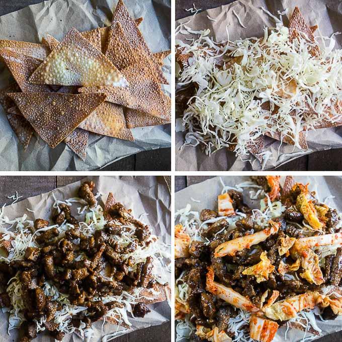 how to assemble korean beef nachos