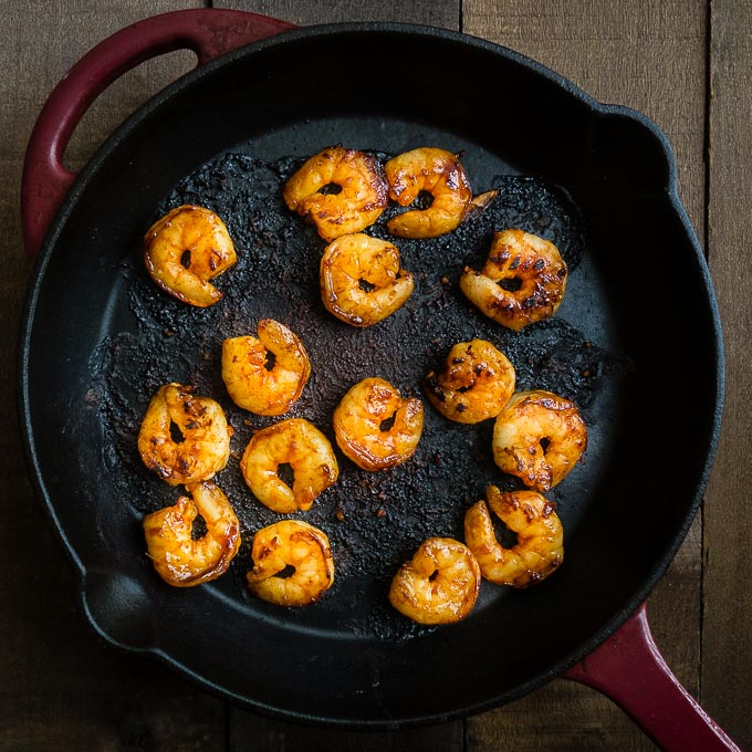 cooked shrimp in a skillet