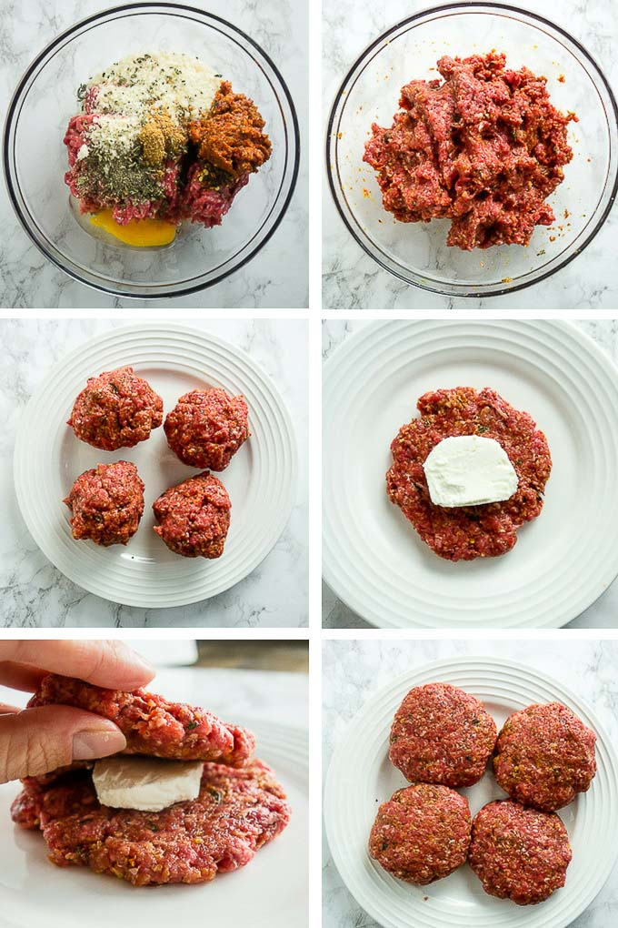 step by step photos for making buffalo burgers