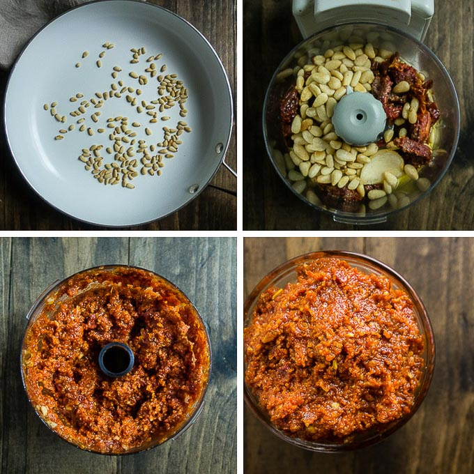 step by step photos for mkaing sun dried tomato pesto