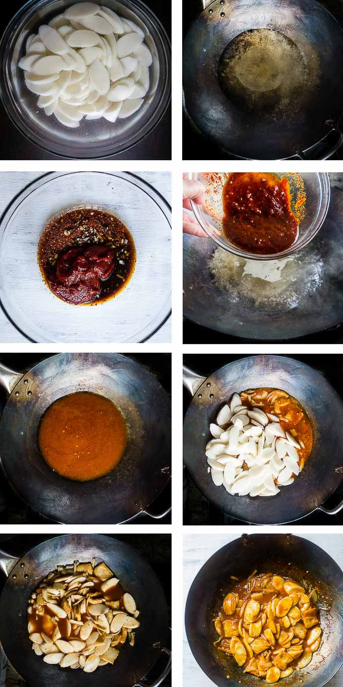 step by step photos for making sweet and spicy korean rice cakes