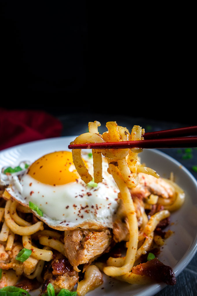 udon stir fry noodles with egg