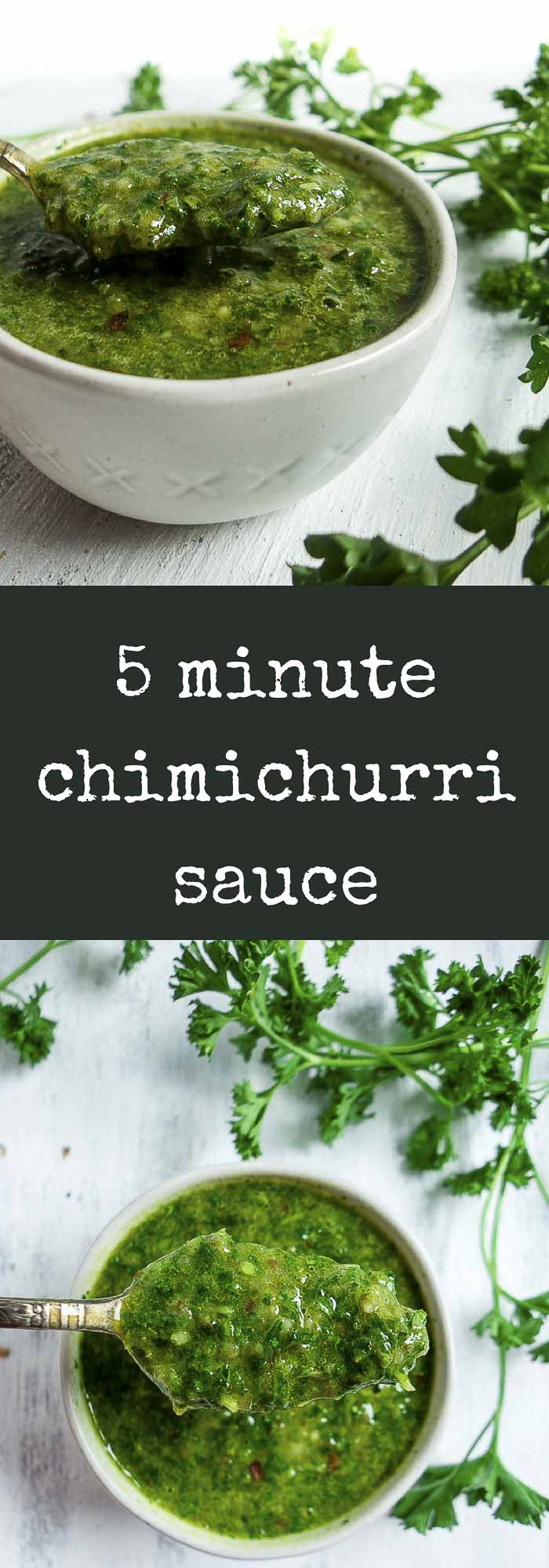 Packed full of fresh herbs, extra virgin olive oil, vinegar and fresh lemon juice, & an touch of spice, this 5 minute Chimichurri sauce is amazingly fresh and flavorful!paleo chimichurri sauce | vegan chimichurri | fresh herb chimichurri | Argentinian recipes | easy chimichurri | traditional chimichurri | spicy chimichurri | brazilian chimichurri | homemade chimichurri | how to use chimichurri | chimichurri ingredients