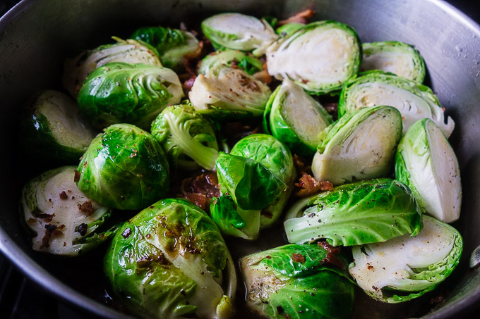 brussels sprouts in a skillet with bacon