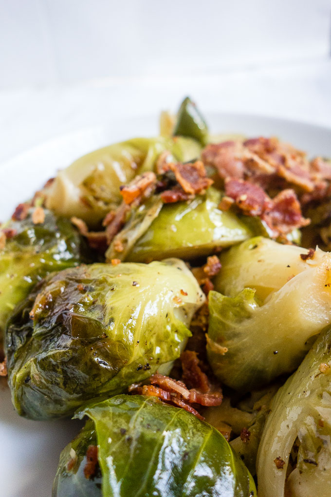 close up of braised brussels sprouts
