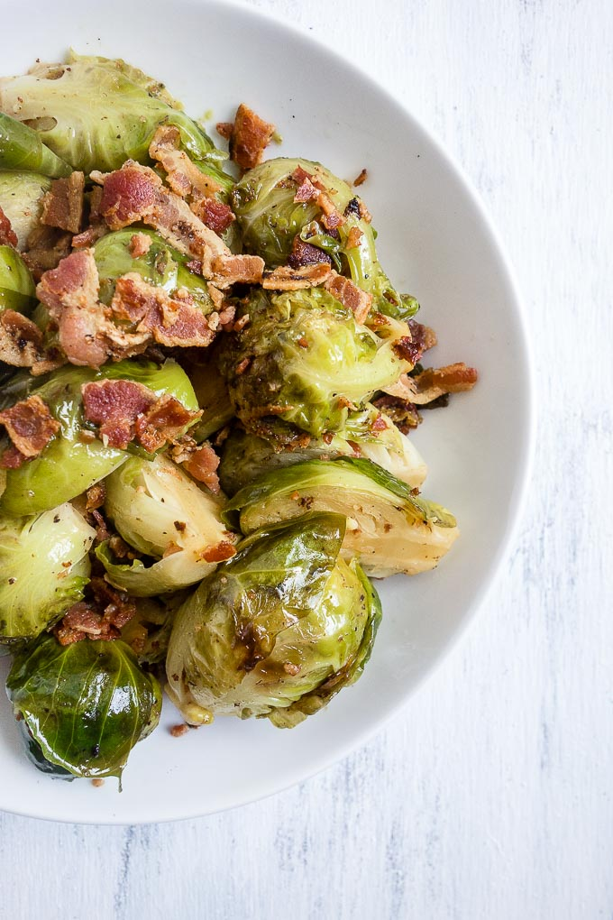 close up of brussels sprouts and bacon