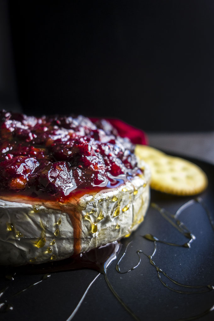 easy baked brie with cranberry chutney and honey