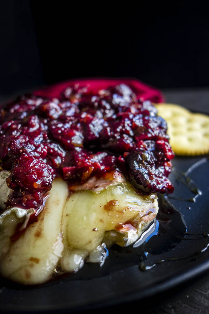 inside of easy baked brie with cranberry chutney