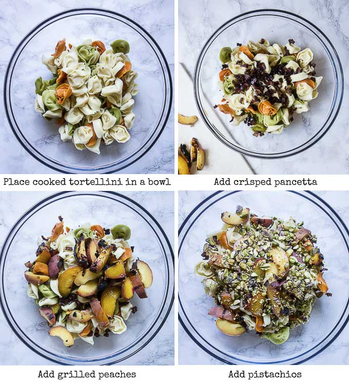 step by step photos for assembling a tortellini pasta salad