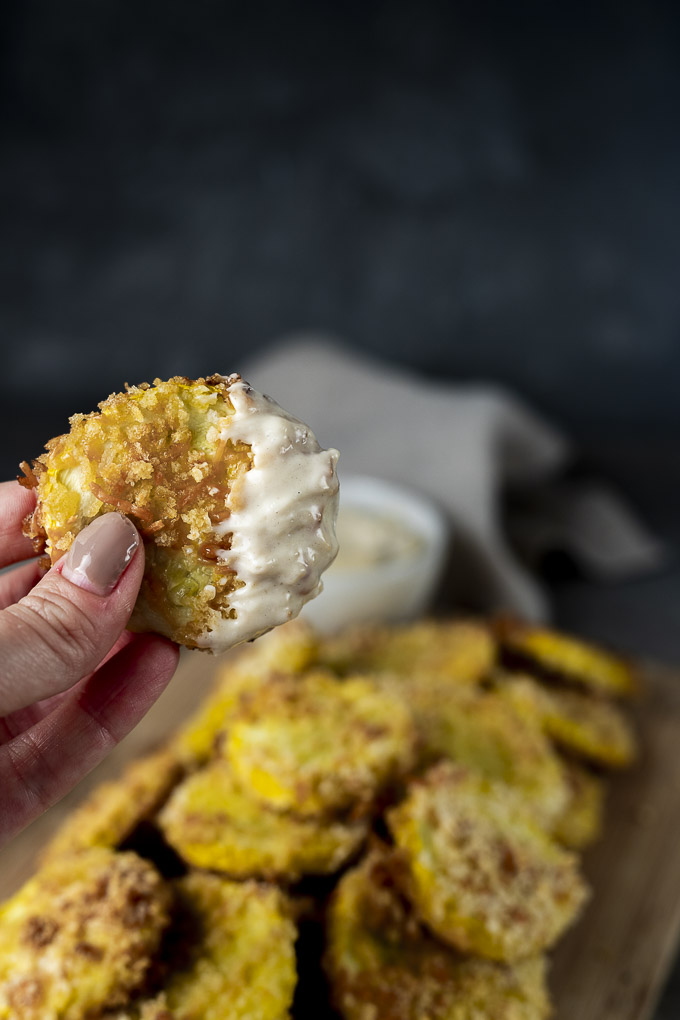 fried squash dipped in white sauce